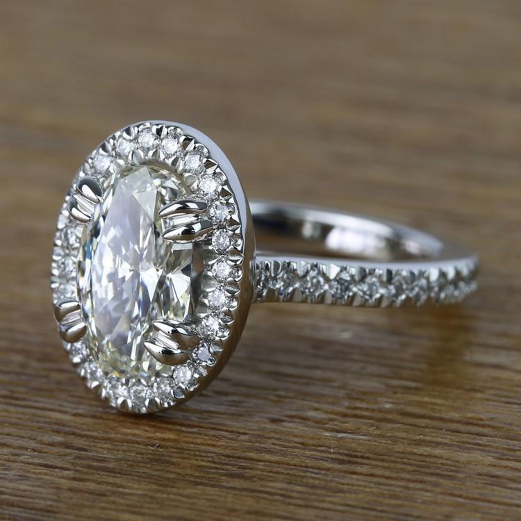 Oval Petite Halo Diamond Engagement Ring (2 Carat) angle 2