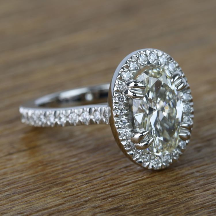 Oval Petite Halo Diamond Engagement Ring (2 Carat) angle 3