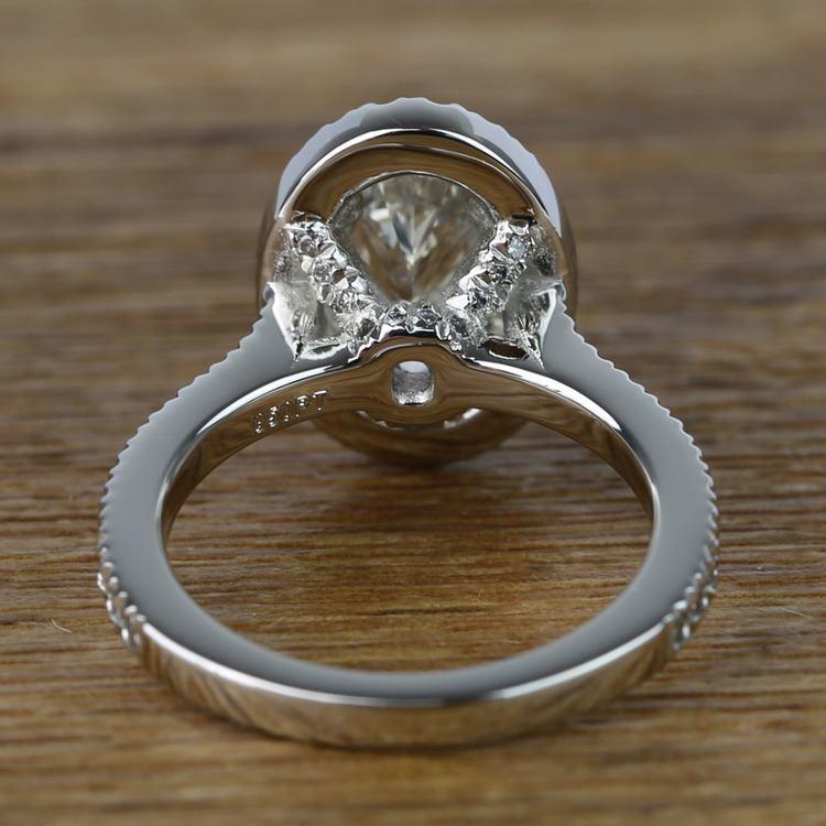 Oval Petite Halo Diamond Engagement Ring (2 Carat) angle 4