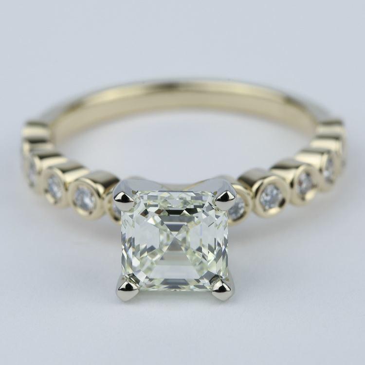 Bezel Engagement Ring with Asscher Diamond (2 Carat)