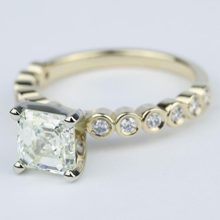Bezel Engagement Ring with Asscher Diamond (2 Carat) angle 2