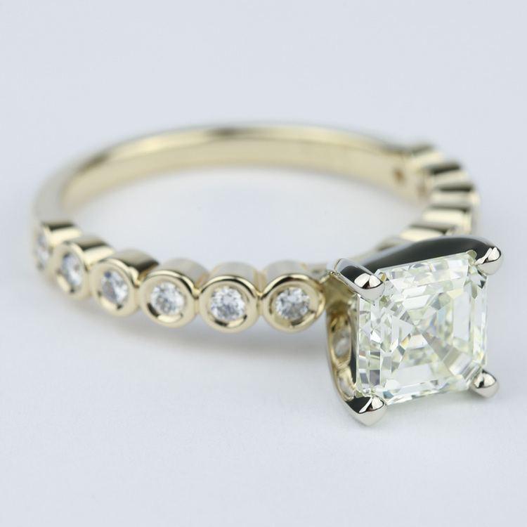Bezel Engagement Ring with Asscher Diamond (2 Carat) angle 3