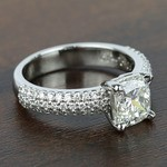 Three-Row Pave Engagement Ring with Cushion Diamond - small angle 3