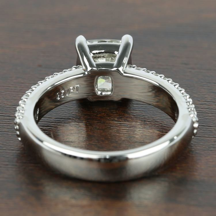 Three-Row Pave Engagement Ring with Cushion Diamond angle 4