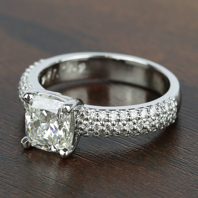 Three-Row Pave Engagement Ring with Cushion Diamond angle 2