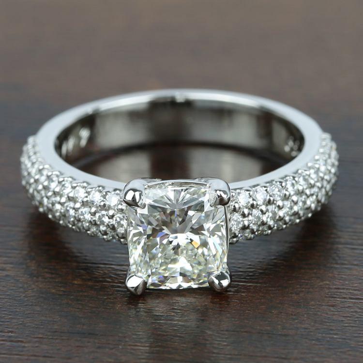 Three-Row Pave Engagement Ring with Cushion Diamond