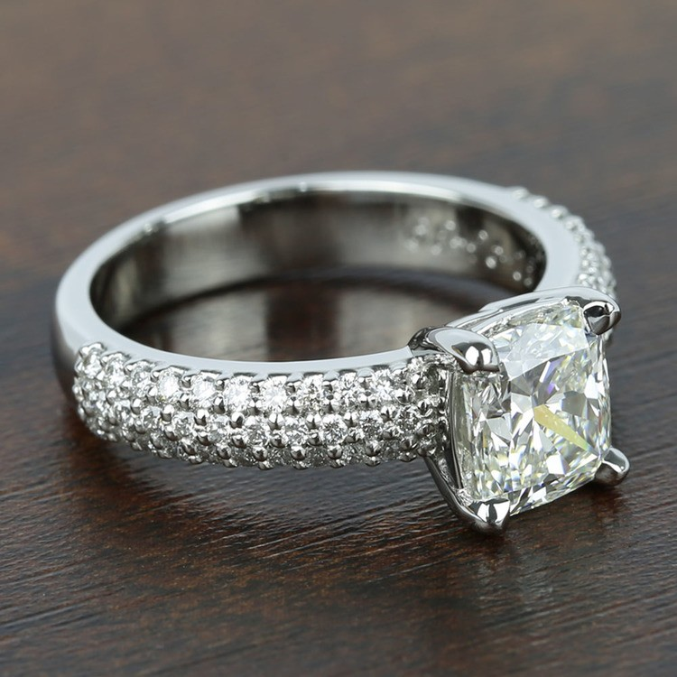 Three-Row Pave Engagement Ring with Cushion Diamond angle 3