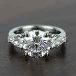 2.32 Carat Round & Pear Diamond Engagement Ring - small