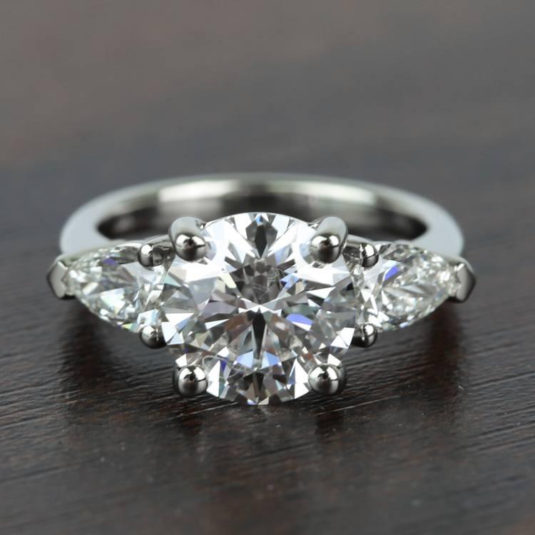 2.32 Carat Round & Pear Diamond Engagement Ring