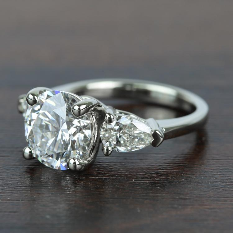 2.32 Carat Round & Pear Diamond Engagement Ring angle 2