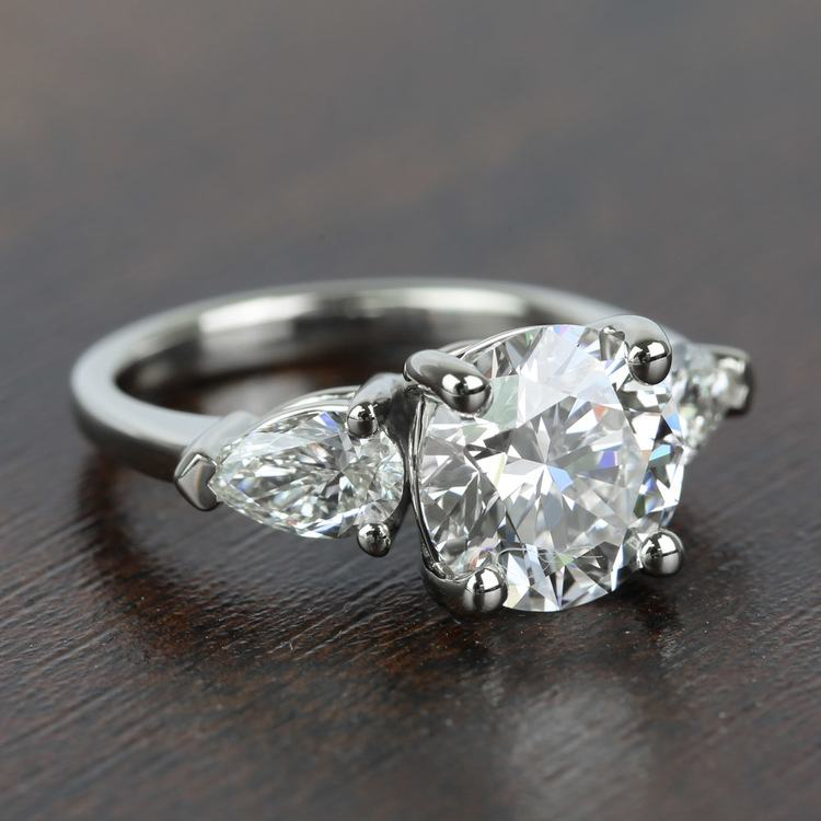 2.32 Carat Round & Pear Diamond Engagement Ring angle 3