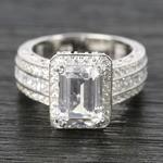 Three-Row Diamond Halo Ring Setting with Emerald-Cut Diamond - small