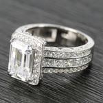Three-Row Diamond Halo Ring Setting with Emerald-Cut Diamond - small angle 2