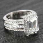 Three-Row Diamond Halo Ring Setting with Emerald-Cut Diamond - small angle 3