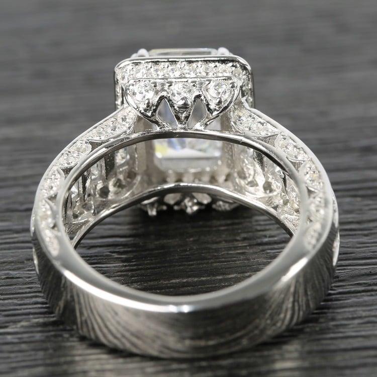 Three-Row Diamond Halo Ring Setting with Emerald-Cut Diamond angle 4
