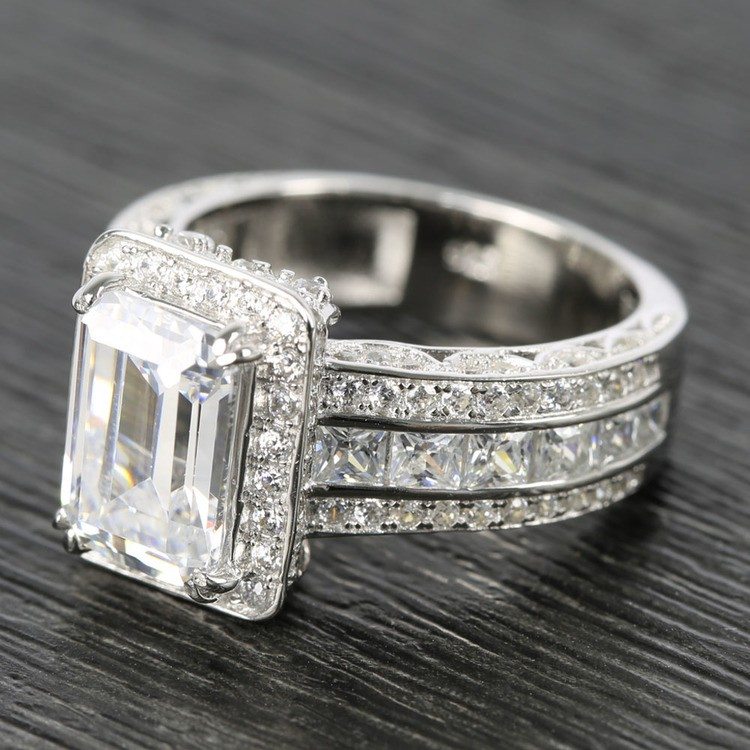 Three-Row Diamond Halo Ring Setting with Emerald-Cut Diamond angle 2