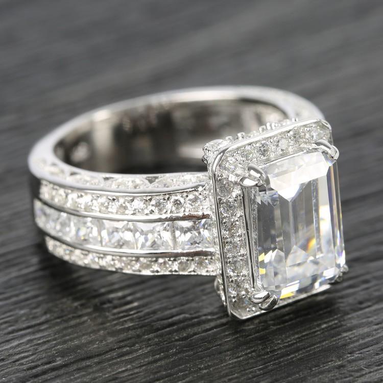 Three-Row Diamond Halo Ring Setting with Emerald-Cut Diamond angle 3