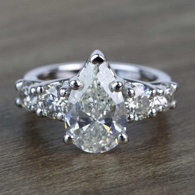 2.5 Carat Pear Trellis Diamond Engagement Ring