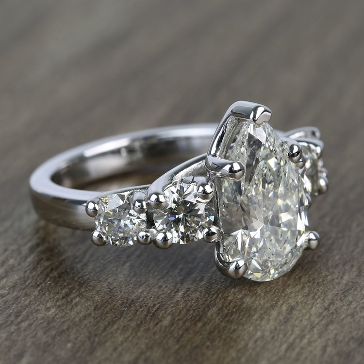 2.5 Carat Pear Trellis Diamond Engagement Ring angle 3