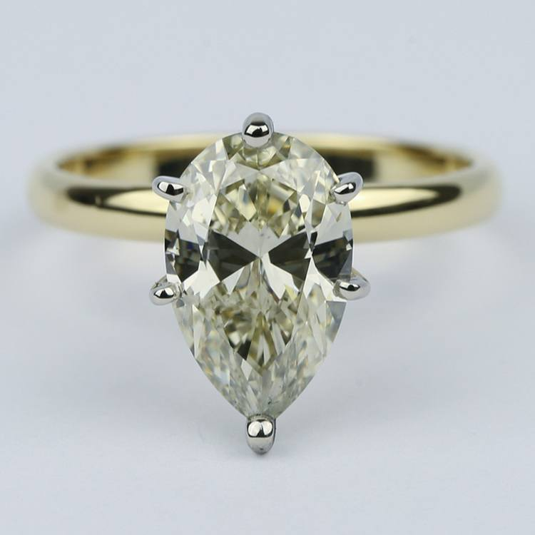 Fancy Brown & Yellow Pear Cut Diamond Solitaire Ring (2.50 Carat)