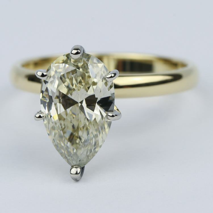 Fancy Brown & Yellow Pear Cut Diamond Solitaire Ring (2.50 Carat) angle 2