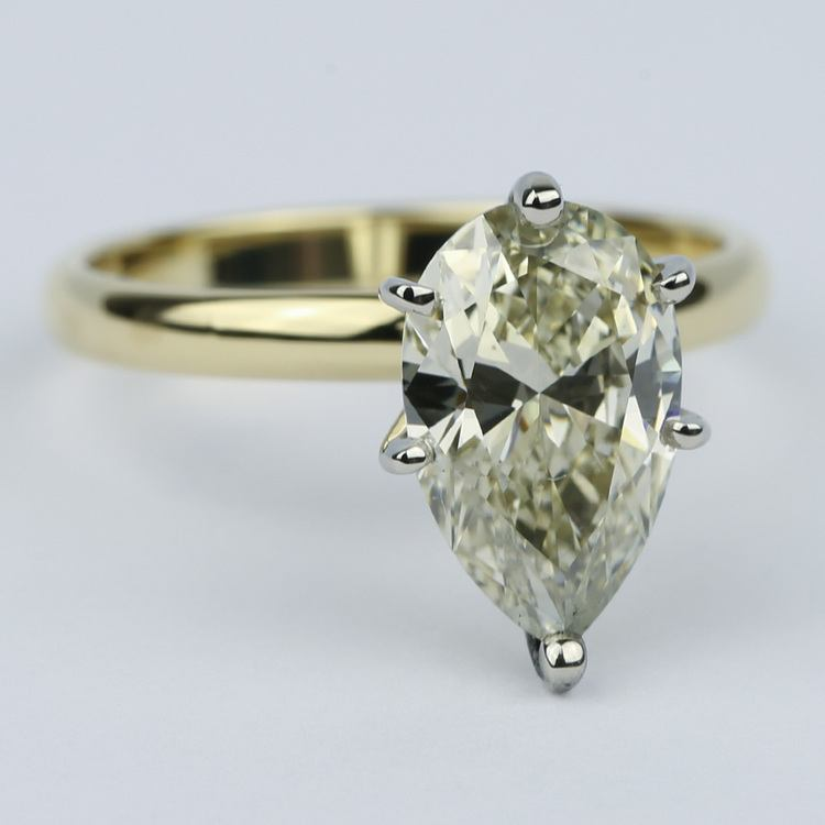 Fancy Brown & Yellow Pear Cut Diamond Solitaire Ring (2.50 Carat) angle 3