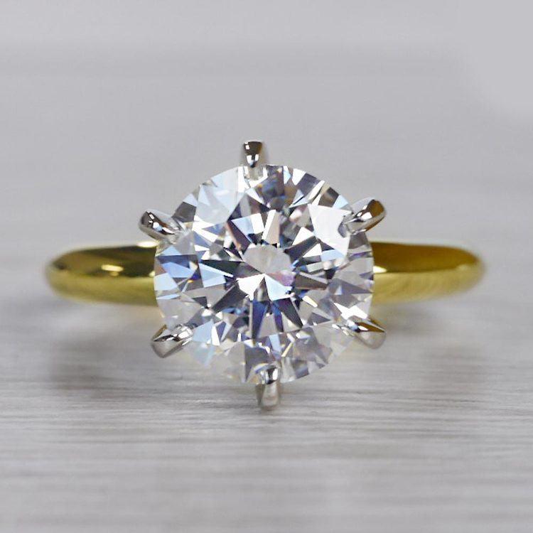 2.50 Carat Six Prong Round Cut Diamond Engagement Ring