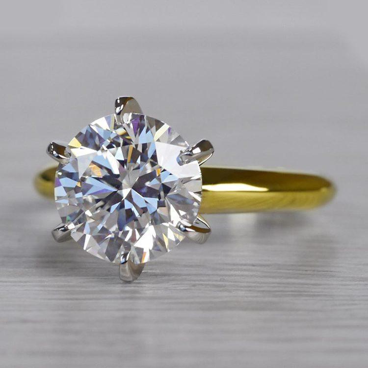 2.50 Carat Six Prong Round Cut Diamond Engagement Ring angle 2