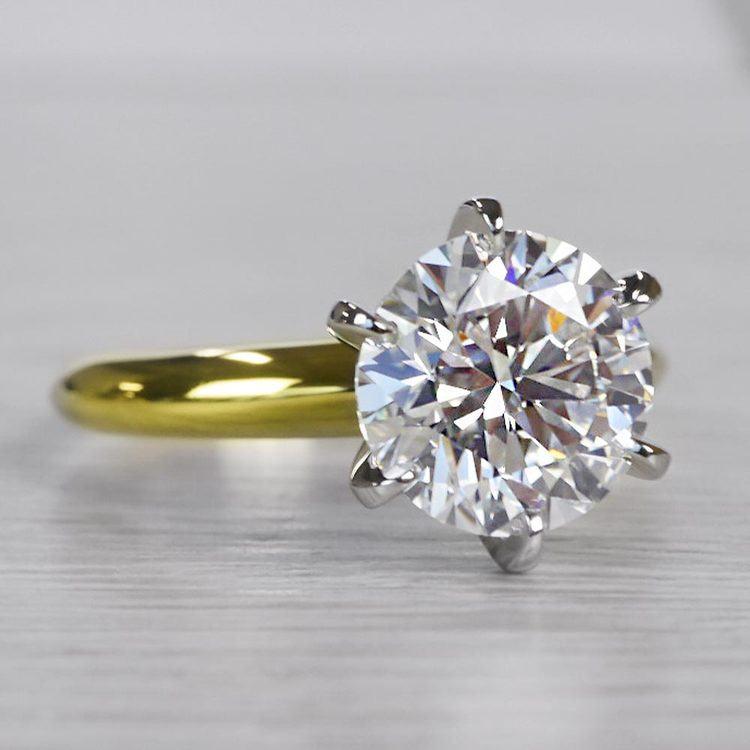 2.50 Carat Six Prong Round Cut Diamond Engagement Ring angle 3