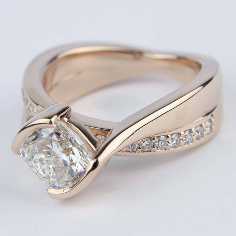 Cushion Bezel Bridge Engagement Ring in Rose Gold angle 2