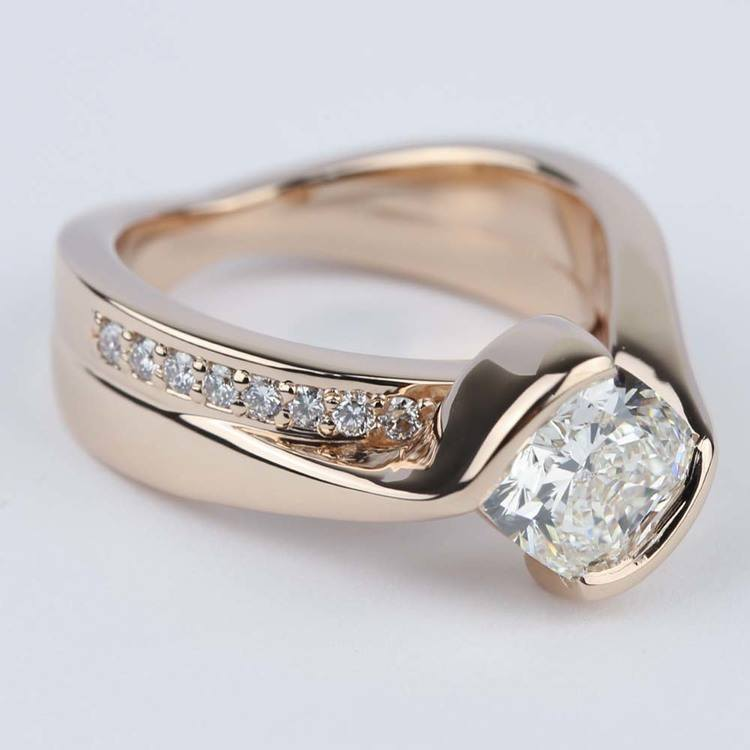 Cushion Bezel Bridge Engagement Ring in Rose Gold angle 3