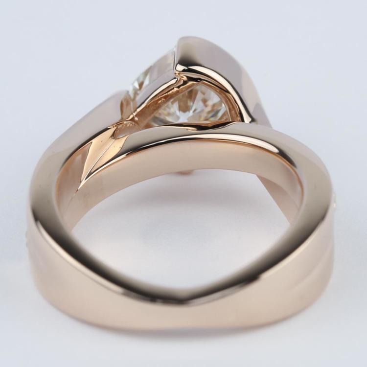 Cushion Bezel Bridge Engagement Ring in Rose Gold angle 4