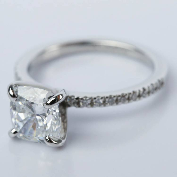 2 Carat Cushion Diamond Engagement Ring in Platinum angle 2