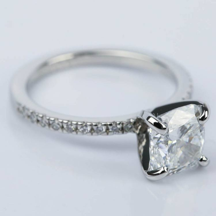 2 Carat Cushion Diamond Engagement Ring in Platinum angle 3