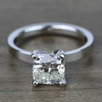 2 Carat Cushion Flat Solitaire Diamond Engagement Ring - small