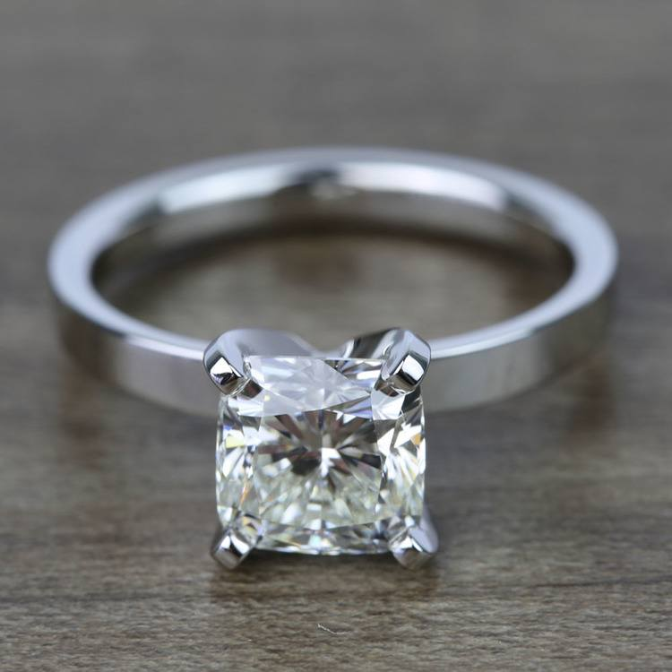 2 Carat Cushion Flat Solitaire Diamond Engagement Ring