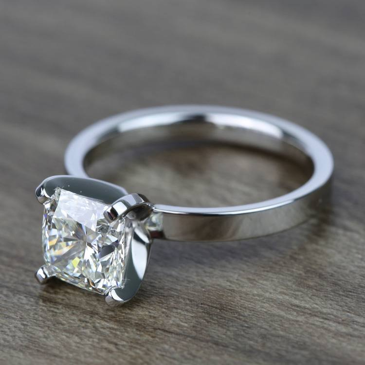 2 Carat Cushion Flat Solitaire Diamond Engagement Ring angle 2