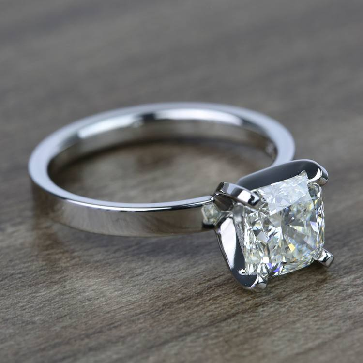 2 Carat Cushion Flat Solitaire Diamond Engagement Ring angle 3