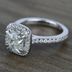 2 Carat Cushion Petite Halo Diamond Engagement Ring - small angle 2