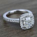2 Carat Cushion Petite Halo Diamond Engagement Ring - small angle 3