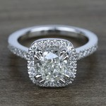 2 Carat Cushion Petite Halo Diamond Engagement Ring - small