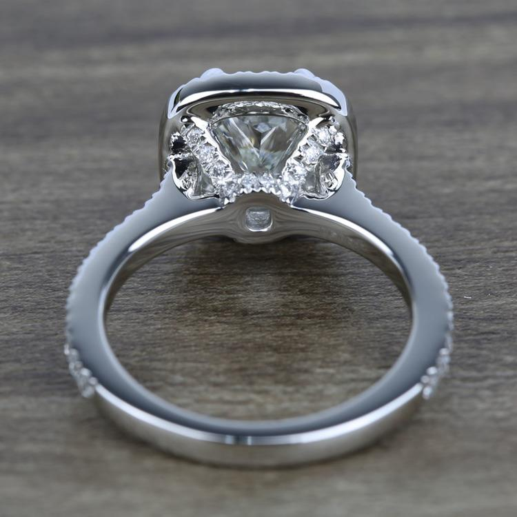 2 Carat Cushion Petite Halo Diamond Engagement Ring angle 4