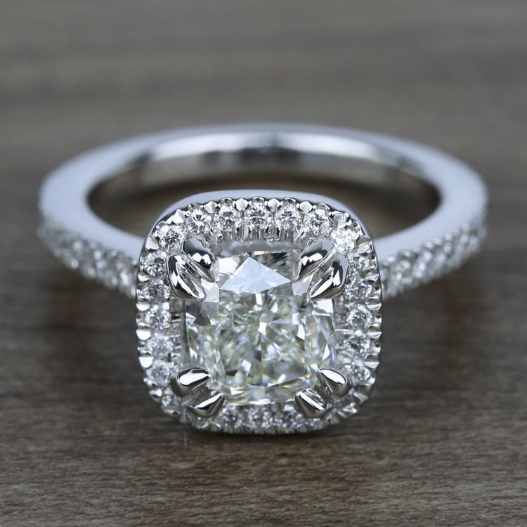 2 Carat Cushion Petite Halo Diamond Engagement Ring