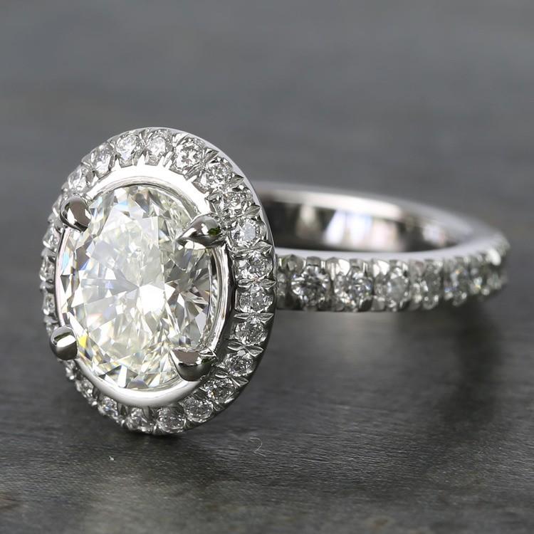 2 Carat Custom Oval Halo Diamond Engagement Ring angle 2