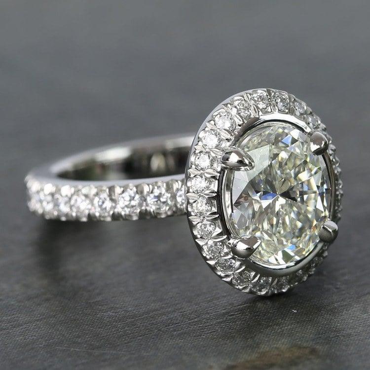 2 Carat Custom Oval Halo Diamond Engagement Ring angle 3