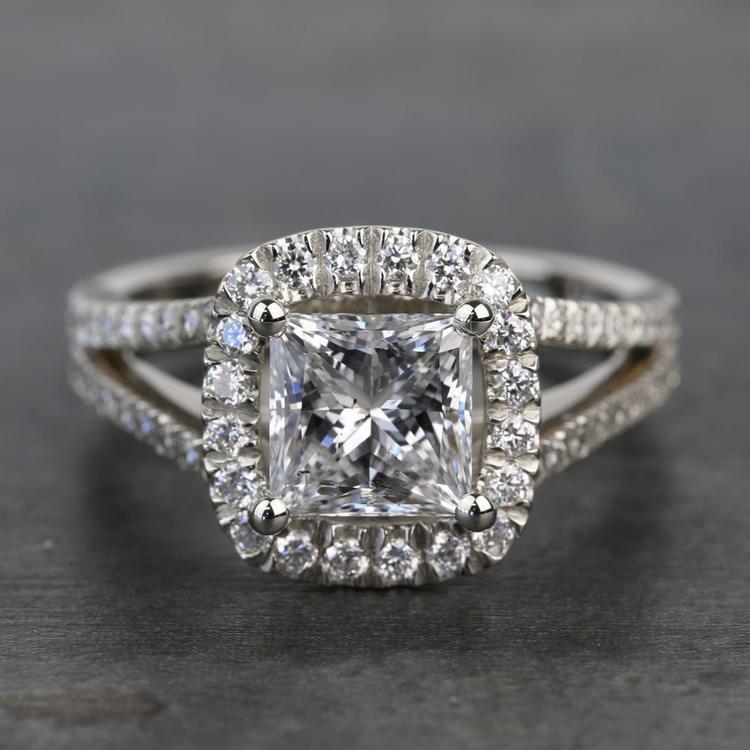 2 Carat Custom Split Shank Princess Halo Diamond Engagement Ring