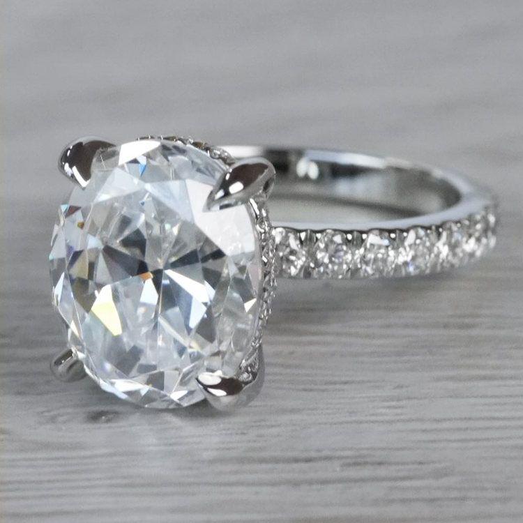 2 Carat Diamond Oval Cut Engagement Ring angle 2