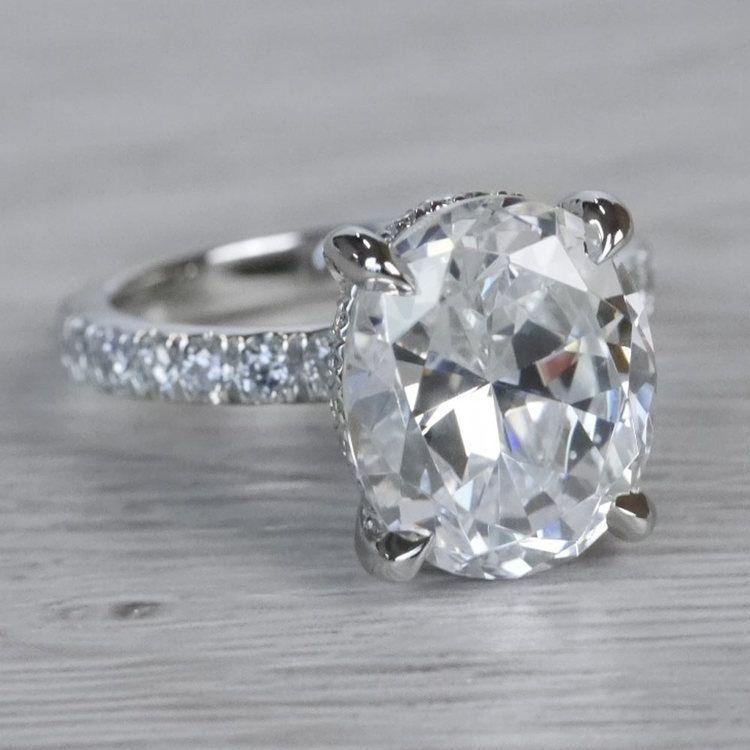 2 Carat Diamond Oval Cut Engagement Ring angle 3