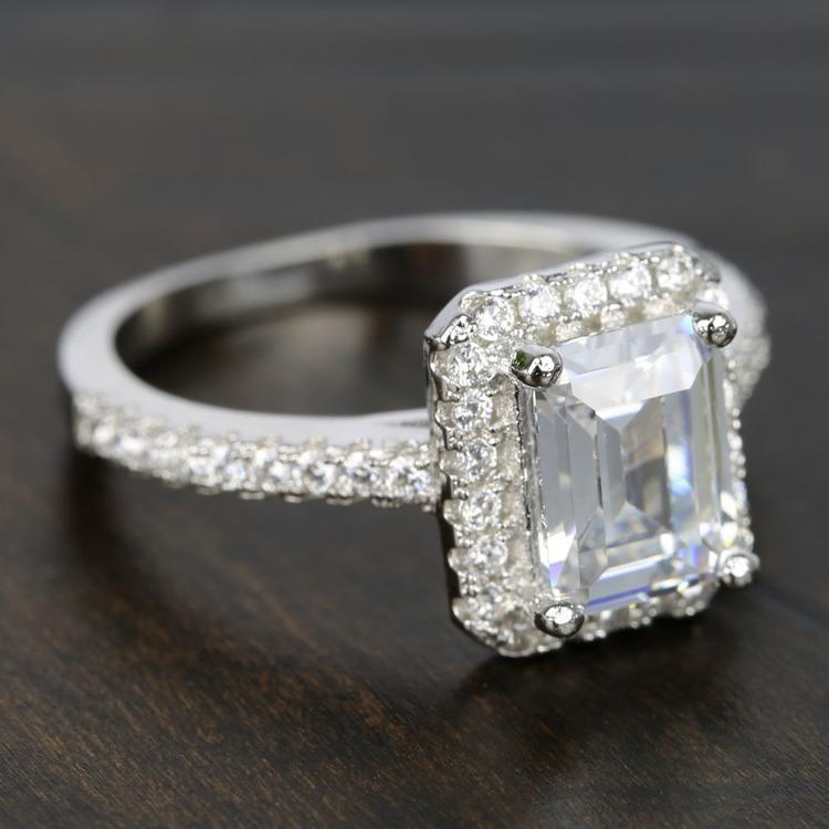 2 Carat Emerald-Cut Diamond Halo Engagement Ring angle 3