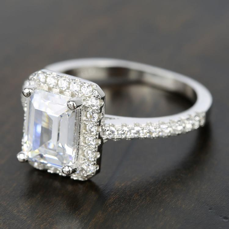 2 Carat Emerald-Cut Diamond Halo Engagement Ring angle 2